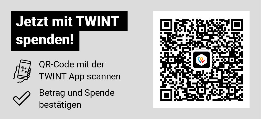 Jetzt mit TWINT spenden. QR-Code mit der TWINT App scannen. Betrag und Spende bestätigen.